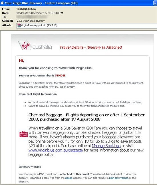Fake Virgin Blue Itinerary Email Soars With Malware | Forcepoint