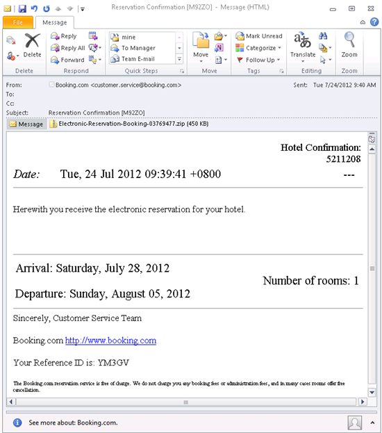 New spam delivers fake booking hotel reservations forcepoint decompressing the zip file exposes a malicious executable file hotel electronic reservationexe if users click on the file to run it spiritdancerdesigns Choice Image