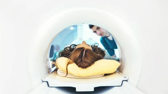 Woman getting an MRI
