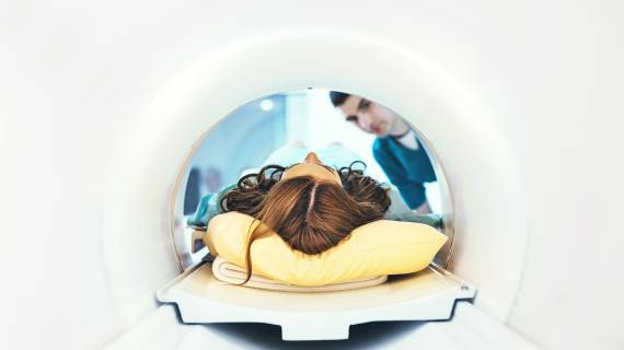 Woman getting an MRI