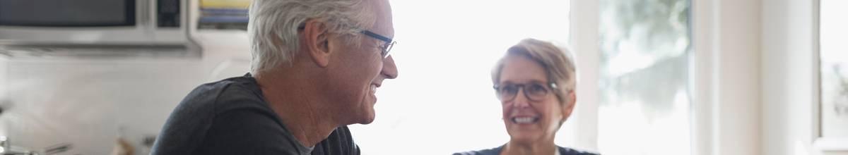 Senior couple enjoying a cup of coffee