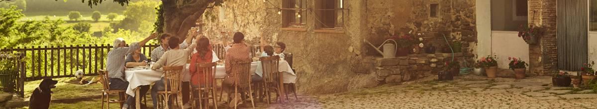 Spanish summer outdoor family dinner